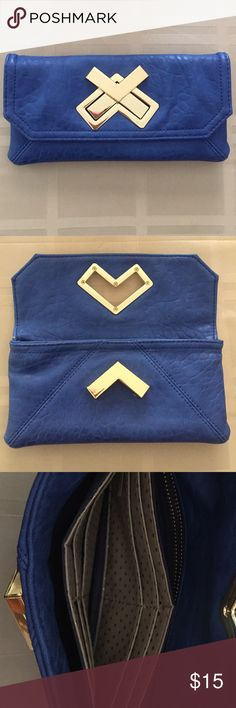 Royal blue wallet So cute!! Has some normal wear and tear, but is perfect on the inside and still in great condition! Deux Lux Bags Wallets