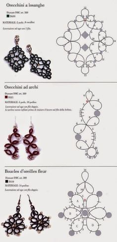 Crochet lace tutorial needle tatting ideas crochet quick and easy free tatted earring patterns Tatting Earrings, Tatting Jewelry, Lace Jewelry, Tatting Lace, Crochet Earrings, Etsy Jewelry, Beaded Earrings, Custom Jewelry, Lace Patterns