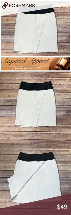 """[Black Saks Fifth Avenue] Leather Waist Skirt [Black Saks Fifth Avenue] Leather Waist Skirt   Beautiful wrapped front tulip style skirt in excellent pre loved condition with beautiful leather waist band front.   - Size 4 - Leather and cotton blend with stretch. - 14.5"""" waist measured flat across back - 20"""" length down center of back - Item Location I-3 Saks Fifth Avenue Black Label Skirts Pencil"""
