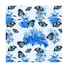 Lilies Garden - Blue  instagram.com/tseihadesign  #liliesgarden #lily #botanicalgarden #botanicalillustration #illustration #illustrationart #art #artist #flower #seamlesspattern #surfacedesign #floral #floralpattern