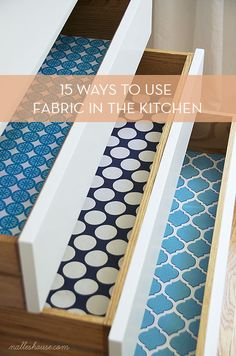 Decorate with fabric in the kitchen with one of these neat ideas! The fabric behind the plexiglass? Genius!