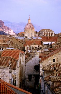 Dubrovnik, Croatia  View of the old town of Dubrovnik and the dome of the Cathedral of the Assumption of the Virgin.