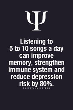 Ouvindo de 5 a 10 músicas por dia, melhoramos a memória, fortalecemos o sistema imunológico e reduzimos o risco de depressão em 80%! #zamus #psicologia #music