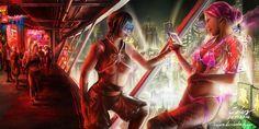 CyberPunk_Redlight_district by celarx DeviantArt Cyberpunk Girl, Cyberpunk 2077, Pen & Paper, Cyberpunk Aesthetic, Steampunk, Red Light District, Futuristic Art, Ex Machina, Sci Fi Characters