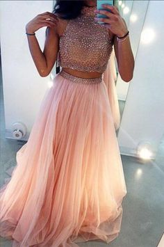 High Neck Sleeveless Long Prom Dress with Beading,2 #dressesforteens