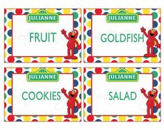 Sesame Street Food Labels Custom Printable by SweetBeeDesignShoppe 2nd Birthday Party Themes, Elmo Party, Baby Boy 1st Birthday, 1st Boy Birthday, First Birthday Parties, Birthday Ideas, Sesame Street Food, Sesame Street Party, Sesame Street Birthday
