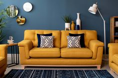 37 Stunning Yellow Living Room Decor Ideas Perfect For This Summer Mustard Living Rooms, Grey And Yellow Living Room, Blue Living Room Decor, Colourful Living Room, Living Room Color Schemes, Living Room Colors, Living Room Sofa, Home Living Room, Living Room Designs