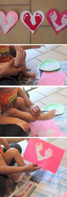 Footprint Hearts | DIY Valentines Art for Kids to Make | Easy Valentines Art for Preschoolers