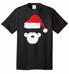 Santa-Face-Beard-Mustache-Christmas-T-Shirt-Holiday-Cheer-Joy-Cute-Gift-Tee