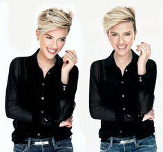 Scarlett Johansson Source - Makeup Looks For Teens Short Blonde Pixie, Girl Short Hair, Edgy Pixie, Asymmetrical Pixie, Super Short Hair, Long Pixie, Pixie Cuts, Undercut Hairstyles, Cool Hairstyles