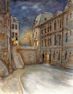 Art: aquarelle: LUXEMBOURG-Ville, ancient batiment de la Justice de Paix