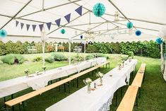 Christening church day in a naturally beautiful vintage theme - Marquee in white and blue – airy light decoration for the celebration in the garden - Vw Vintage, Vintage Theme, Vintage Party, Wedding Vintage, Vintage Style, Baptism Decorations, Light Decorations, Wedding Decorations, Oktoberfest Party