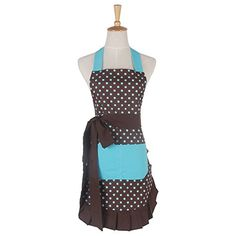 Aspire Adult Kitchen Apron Fashion Women Skirt Apron Dress Cooking Baking Crafting Garden Apron-Coffee blue-Adult