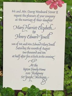 Wedding Invitation calligraphy and letterpress from the fabulous dblettering, @Dena Aksel Bellows
