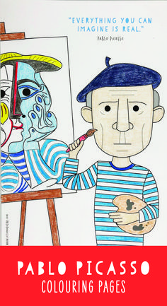 Picasso coloring pages for kids. Picasso for kids.Pablo Picasso coloring pages for kids. Picasso for kids. Pablo Picasso, Kunst Picasso, Picasso Art, Picasso Kids, Famous Artists For Kids, Famous Artists Paintings, Art History Lessons, Art Lessons, Ecole Art