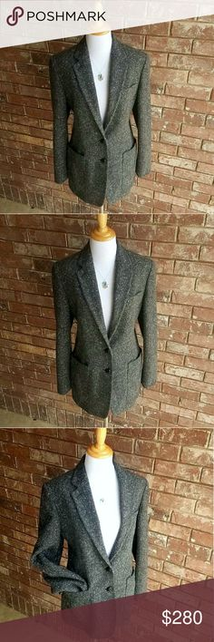 """Vintage Ralph Lauren Tweed Blazer Pure Wool This Vintage Ralph Lauren Blazer is complete Luxury! ??? In Perfectly EXCELLENT condition 2 button grey tweed and 100% PURE WOOL. Two functional front pockets. Notched lapel. Long sleeves with 4 button cuffs. Brown faux leather buttons. Darts at the front. Fully lined with 100% natural cupro. 28"""" long. Sleeves 31"""" measured from center back of neck. *Last pic is style idea.   ?? BUNDLE 2 or more SAVE 20% on your entire order! PLUS receive a FREE…"""