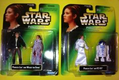 STAR WARS PRINCESS LEIA COLLECTION HAN SOLO ERROR CARD AND R2-D2 by KENNER 1997