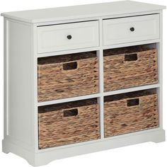 Keep your family bathroom clutter-free with this wood and wicker 4-drawer chest, perfect for stowing away towels and cosmetics. Produ...