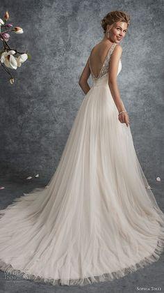 sophia tolli fall 2017 bridal sleeveless strap v neck wrap over ruched bodice romantic a line wedding dress open v back (21) bv