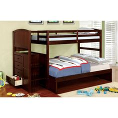 Create an open and calming bedroom environment with this all-inclusive bedroom piece! The upper bunk is easily accessed with the built-in ladder, that houses additional drawers within for convenient storage space.