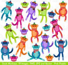 Sock Monkeys Clipart Clip Art Vectors Great for Sock por PinkPueblo