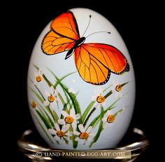 Hand-Painted-Egg-Art. Designs by Margit Jakab. Butterfly Gift