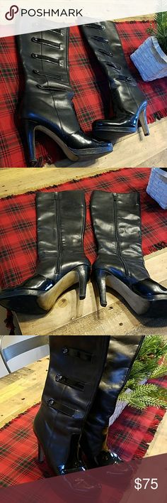 Franko Sarto Tall Leather Boots Gorgeous leather boots with Patten Leather trim on sides and front of foot.  Full side zip and 4 inch heels.  Previously loved.  Just stunning. Franko Sarto Shoes Heeled Boots