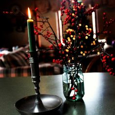 Polish tradition - light a candlestick on Christmas Eve day and if it burns all the way down with out going out your new year will be blessed!