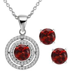 3.64 Ct Round Natural Red Garnet 925 Sterling Silver Pendant & Earrings Set available at joyfulcrown.com