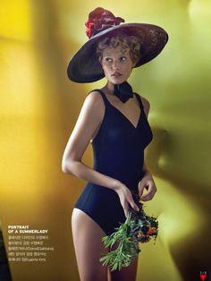 Toni Garrn models beachwear for Vogue Korea July 2015 shot by Hyea W. Kang [Editorial]