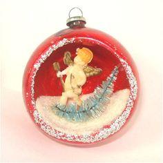 Cupid 50s Glass Diorama Indent Scene Christmas Ornament | eBay