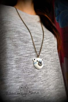 Polar bear head necklace. Handmade.