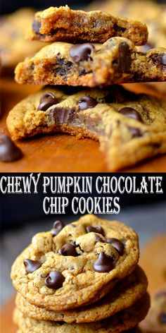 I warned you last week, I could feel the pumpkin in the air. I almost thought I wouldn't be able to post these pumpkin cookies though. Onion Soup Recipes, Easy Soup Recipes, Pumpkin Recipes, Fall Recipes, Baking Recipes, Cookie Recipes, Recipes Dinner, Pumpkin Chocolate Chip Cookies, Healthy Pumpkin Cookies