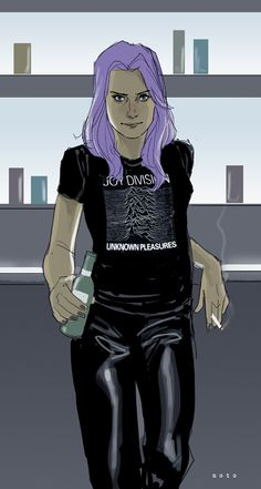 """Betsy Braddock 1982- So last night Rick Remender alerted me to the fact that Psylocke's purple hair was actually a conscious fashion choice that British model, Betsy made in 1982. So as Ricky Bobby would say, """" I like to picture my Betsy Braddock as a punk rocker hanging out the club wearin' her Joy Division t-shirt, drinkin' beer and smokin' them fancy cigarettes."""" Amen."""