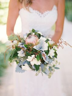 """Classic Santa Barbara Wedding at Apple Creek Ranch """"... eclectic mix of proteas, peonies and wild flowers to compliment the natural vibe of the venue..."""" See the wedding on SMP: http://www.StyleMePretty.com/2014/02/19/classic-santa-barbara-wedding-at-apple-creek-ranch/ Lane Dittoe Fine Art Wedding Photographs"""