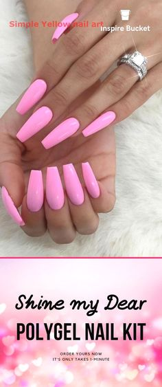 Polygel Nail Kit: Design Your Long Nails In Minutes wedding nails – Wedding İdeas Pink Ombre Nails, Rose Gold Nails, Yellow Nails, Glitter Nails, Red Glitter, Almond Nails Pink, Pink Chrome Nails, Pink White Nails, Barbie Pink Nails
