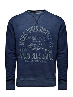 Indigo Blues Sweat - Jack & Jones Men's Fashion, 90s Fashion Grunge, Mood Indigo, Indigo Blue, Jack Jones, Printed Sweatshirts, Blue Jeans, Blues, Shopping