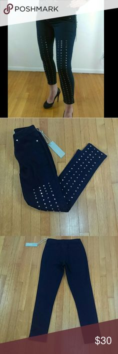 Charley 5.0 High Waist Studded Jeans Really cool studded high waisted jeans. They have a ton of stretch and look great on. Studs down the front, one stud is missing near the ankle not noticeable. I included a photo. The front pockets are faux but back pockets are real. They jeans are really nice and flattering. This brand is often sold through Free People and a celebrity favorite.   These jeans hit right above the ankle. Cropped ankle. Charley 5.0  Jeans