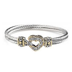 7in Pave Heart Double Wire Bracelet, John Medeiros, Jewelry $130