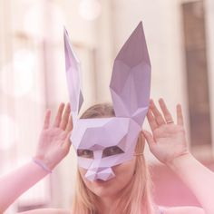 Looking for a cool unique costume? We can help you with that! This template allows any of cardboard or thick paper, make three-dimensional «Rabbit Mask 3d Templates, Unique Costumes, Half Mask, Paper Mask, Paper Crafts, Diy Crafts, Altered Books, Three Dimensional, Collage Art