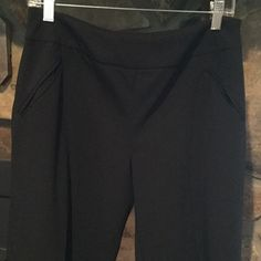 Black slacks Black slacks, straight lef, front slant pockets and side zip. Excellent condition. Semi-wide waist band for flattering fit. Kelly and Diane Pants Trousers