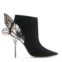 Bold black suede pointed Butterfly Wing boot with details of rose gold and black printed across the back, wings and heel. Black Suede, Black Gold, Sophia Webster Chiara, Gold Boots, Street Style, Black Print, Stiletto Heels, Shoes, Purses