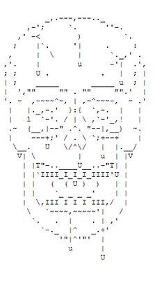 ASCII Skull Art #skull #skulls #obsessedwithskulls #obsessed-with-skulls #ascii-art