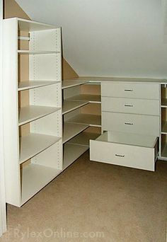 Closet Under Eaves - built in drawers & shelving