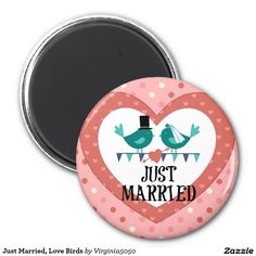 Just Married, Love Birds marriage button pin