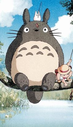 Totoro, the forest spirit and Mei, a 4 year old girl. An enchanting Studio Ghibli film. Cartoon Wallpaper, Kawaii Wallpaper, Art Studio Ghibli, Studio Ghibli Movies, Studio Ghibli Characters, Anime Kunst, Anime Art, Animes Wallpapers, Cute Wallpapers