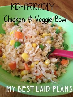 Kid Friendly Chicken & Veggie Bowl- Noah would LOVE this! Maybe a school lunch idea too.