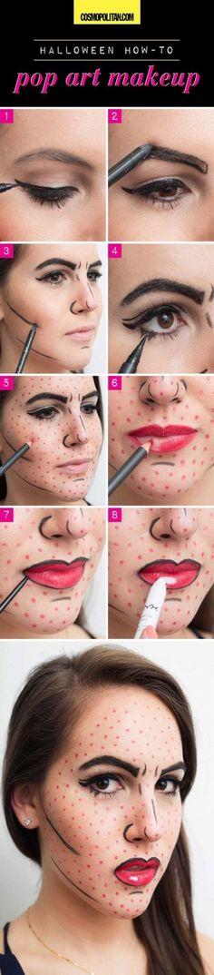 maquiagem halloween - make up halloween - diy makeup - Pop Art Makeup, Diy Makeup, Makeup Ideas, Makeup Tutorials, Makeup Lips, Makeup Drawing, Makeup Hacks, Makeup Trends, Eyeshadow Makeup