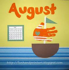 Handprint Sailboat for August - Handprint Calendar - Fun Handprint Art Sun Crafts, Summer Crafts, Leaf Crafts, Summer Diy, Fall Crafts, Christmas Crafts, Projects For Kids, Crafts For Kids, Arts And Crafts