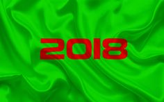 Download wallpapers 2018 Year, New Year concepts, green background, 2018 concepts